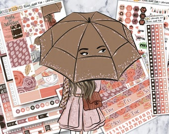 ULTIMATE Weekly Kit / Rose Gold Fall / Planner Stickers / Fits Erin Condren Vertical & MAMBI / Hand Drawn / Watercolor