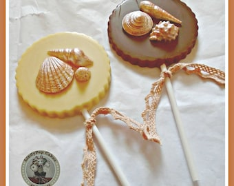 Chocolate Shell Lollipops/Beach Wedding Favours/For Her Unusual/Mother/Shell Gift/Edible Shells/Seaside/Ocean/Sand/Women/Mum/Girlfriend/Wife