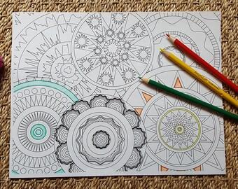 Adult Coloring Page - Abstract Circles/Mandalas