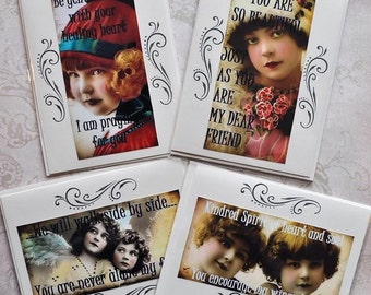 HEALING HOPE CARDS Set A four vintage collage girls inspirational greeting card gift