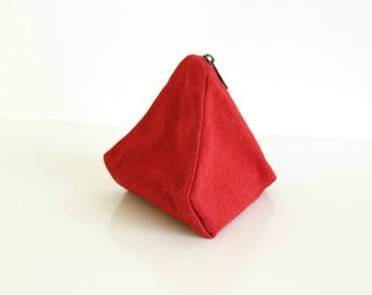 Organic cotton pouch, red pouch, coin purse, mini organizer, zipper pouch, mini bag, pouch bag, key purse - The Ruby Sushi Pouch