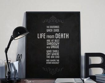 Gothic Art Print - Boundaries - Edgar Allan Poe - PRINTABLE 8x10 inches - Wall Decor, Inspirational Print, Home, Gift, Printable