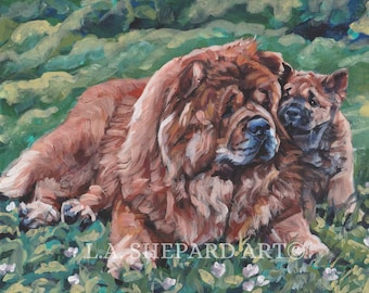 "CHOW Chow dog art PORTRAIT canvas print of LAShepard painting 8x10"" puppy"