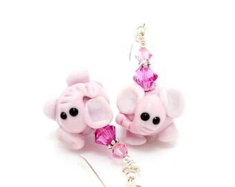 Pink Elephant Earrings, Lampwork Earrings, Glass Earrings, Animal Earrings, Animal Jewelry, Fun Earrings, Cute Earrings, Zoo Earrings