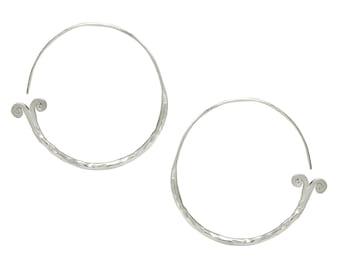 Hammered Sterling Silver Mermaid Tail Hoop Earrings, Handmade Gypsy Tribal hoop spiraling earrings, Boho Swirl Hoop Women or Men earrings