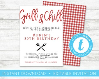 Bbq invitation etsy edit yourself bbq invitation grill and chill invitation printable barbeque party invitation template stopboris Image collections