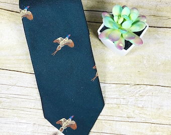 VINTAGE Pheasant Embroidered Forest Green Mid Century Mod Bird Hunting Figural Tie 1960s 1950s Men's Accesories Hipster Fashion