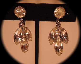 Clear Rhinestone Drop Clip Earrings 1950s