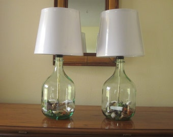 Set Of 2 Table Lamps, Bedside Lamps, Bedroom Lamps, Nautical Decor, Glass