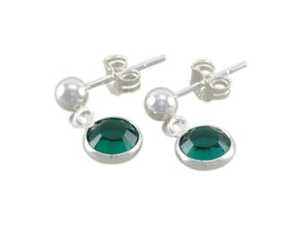 Emerald Green Earrings, Sterling Silver, May birthstone, birthday jewelry, studs, child kids earring, emeralds, crystals, girls, gifts