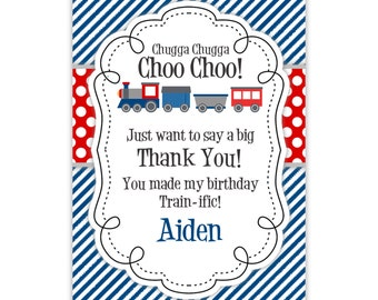 Train Thank You Card - Navy Blue Stripes, Red Polka Dots, Cute Little Train Personalized Birthday Party Thank You - a Digital Printable File