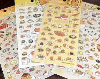 Sanrio Gudetama Sticker Sheets // San-X Lazy Egg Kawaii Gudetama Bullet Journal, Diary, or Planner Stickers // 4 Different Designs Available