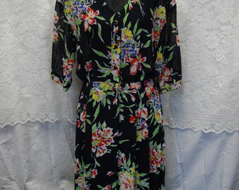 Sale 20% off/Vintage 80 s dress/Summer Party Dress/Size L/XL/Ecofriendly/Shabby chic/Boho/Bohemian