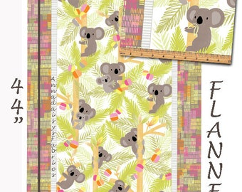 Flannel Koala Fabric Panel, Koala Flannel Baby Quilt Panel, Kanvas Studio Koala Baby Flannel CF 8680F 44 Maria Kalinowski, Cotton, 23 x 44