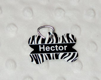 Hector, for pets, dog tag, in the shape of bones, aluminum, pet tags