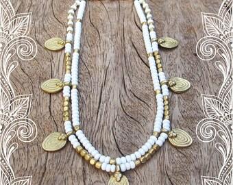White Ankle Bracelet, White Anklet, Beaded White Anklet, Gypsy Jewelry, Hippie Jewelry, Anklet, White, Summer Jewelry, Artjuna