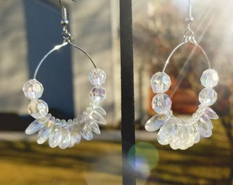 Crystal little hoop earring