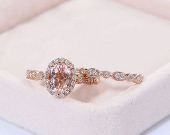 Morganite Engagement Ring set Art deco Vintage engagement ring Rose gold Diamond Wedding women Antique Halo set Oval eternity Bridal Jewelry