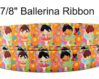 """Girl Ballerina Grosgrain Ribbon 7/8"""" Grosgrain Ribbon By The Yard For Hair Bows Gift Wrapping Scrap Booking Crafts Making Party Supply #209"""