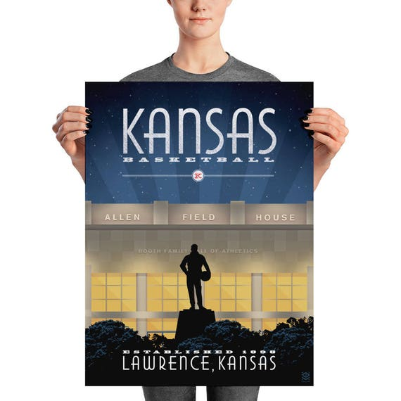 Kansas Basketball Matte Litho Print