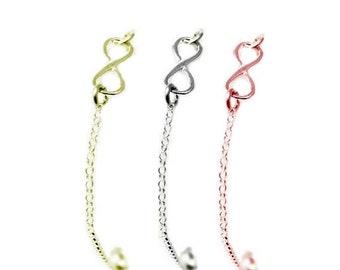 NEW! Infinity Bracelet, available in sterling silver, gold vermeil, rose gold vermeil, adjustable bracelet, 16-19.5 cm, for her, Ships free