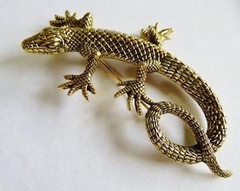 JJ Jonette Large Antique Gold Tone Incredibly Detailed Lizard Brooch Pin