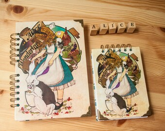 "NOTEBOOK  ""Alice in wonderland"" fantasy colour pages, white pages , for drawing, witch, sketchbook, big, pink, notebook, perfect gift"