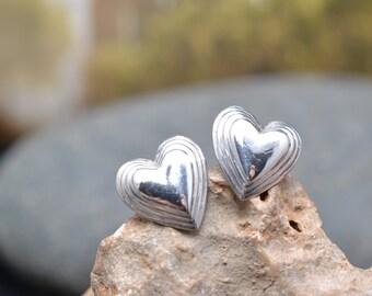 Sterling Silver Hollow Heart Stud Earrings