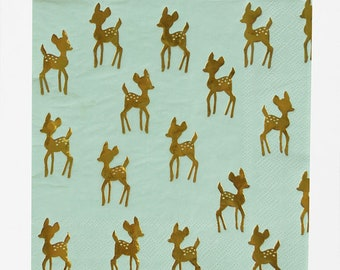 Paper Napkins Golden Fawn - 16 Christmas Birthday Party Napkins