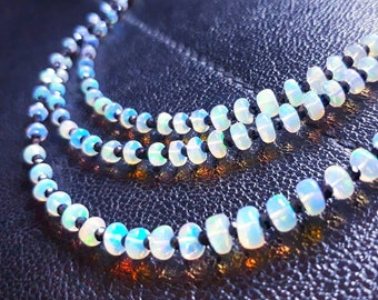 Ethiopian opal and black spinel long beaded necklace