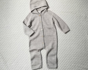 Hooded overall wool brown jumper baby alpaca knitted suit alpaca wool jumpsuit boy girl toddler baby bodysuit knit all in one suit