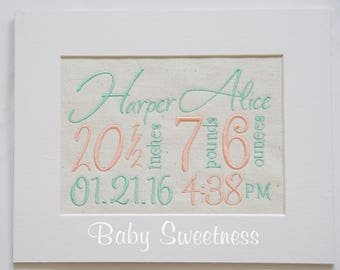 Second Child Birth Announcement - Embroidered Birth Announcement Canvas - 8 X 10 No Frame - Peach Mint Nursery Decor - New Baby New Mom Gift