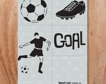 Soccer 4 Pack Stencil- Reusable Crafts & DIY Stencils- S1_4P_25 -8.5x11- By Stencil1