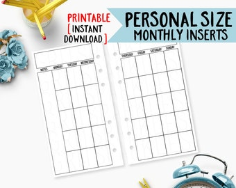 personal planner inserts, personal monthly inserts, Weekly Planner on 2 Pages (WO2P) Monthly Planner Filofax Kikki K DIY Calendar [PHYSICAL]