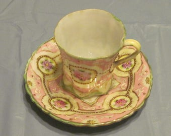 Beautiful Demi Cup and Saucer, No flaws, Gold beading.