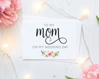 To my mom on my wedding day - Greeting Card Note Card - Mom Mother of the Bride Card with Metallic Envelope Wedding Stationery