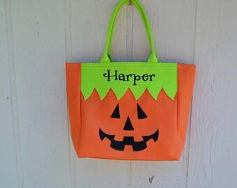Trick or Treat bag, Halloween bag, Jack O Lantern,  FREE MONOGRAMMING