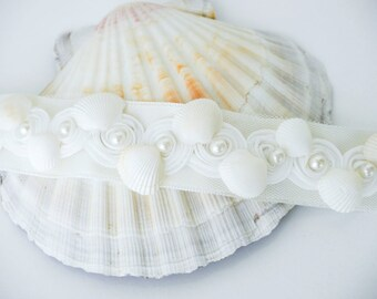 Shell Bridal Sash, Beach Wedding Sash, Bridal Sash, Ivory Belt, Sea Wedding, Wedding Dress, Beach Bridal Sash, Seashell sash
