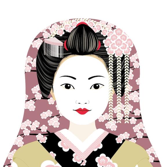 Japanese Geisha Doll Art Print with traditional dress matryoshka
