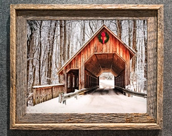 Barn Wood Frame Covered Bridge Christmas in the Smoky Mountains winter scene