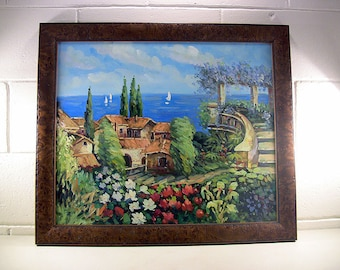 "Vintage Seascape Oil Painting in Burl Wood Period Frame Mediterranean Seaside Villa Tropical Decor 27""x23"""