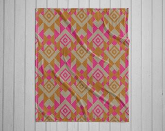 Navajo tribal pattern modern plush throw blanket with white back -pink and orange