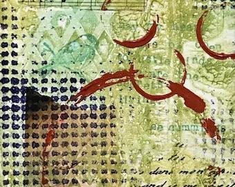 Circles, Mixed Media Art, Collage Art, Original Art