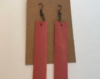 Leather Drop Earrings: Pink