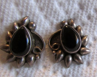 Vintage Sterling Silver and Onyx Post  Earrings