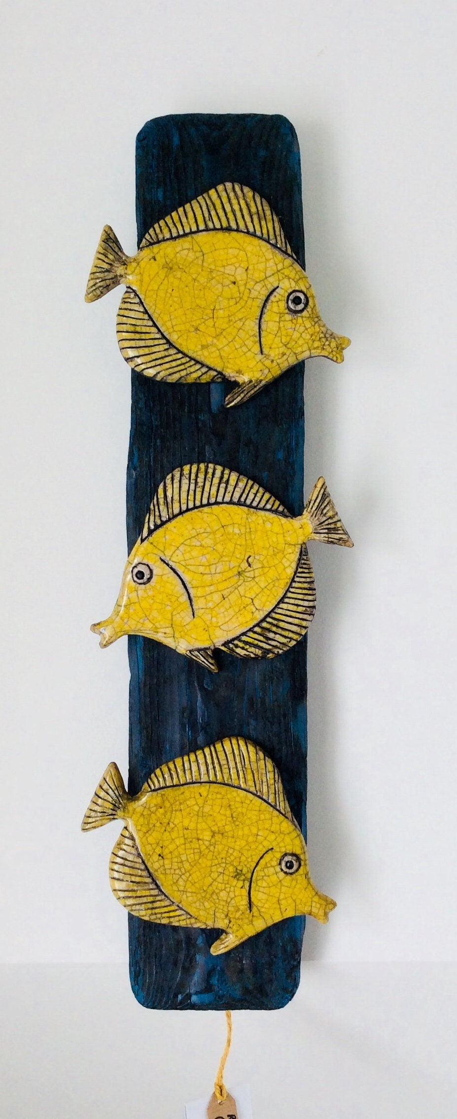 Raku fired ceramic and driftwood yellow tang fish wall art