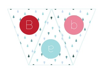 Red, Pink, and Teal Shower Printable Bunting Banner