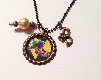 Mardi Gras Bottlecap necklace