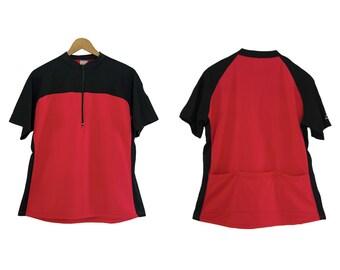 Vintage cycling shirt. Bike shirt. Sport. Bicycle clothing. Biking shirt. Red Black. Womens shirt. La Cordée.