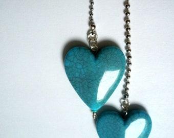 Mothers Day Gift Heart Light Fan Pull Ceiling Ball Chain Lamp Romantic Bedroom Decor Nursery Blue Heart Love Tween Teen FREE shipping